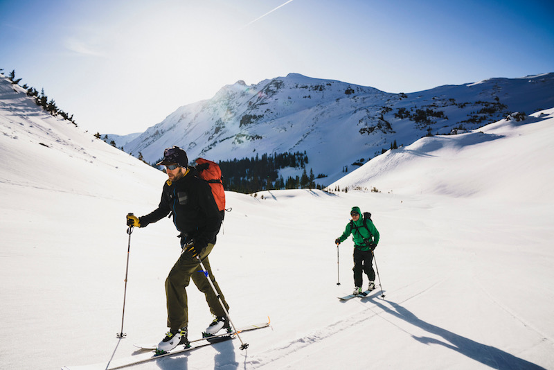 Noah Howell and Will Cardamone make their way to ski from the highest point in the Elk Range, Castle Peak, Colorado.